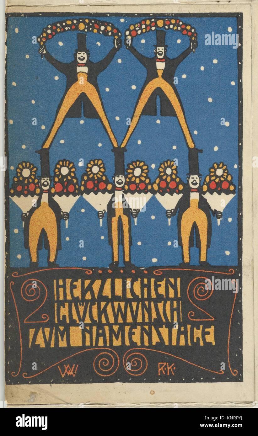 Congratulations on Your Name Day (Herzlichen Glückwunsch zum Namenstage). Artist: Rudolf Kalvach (Austrian, - Stock Image