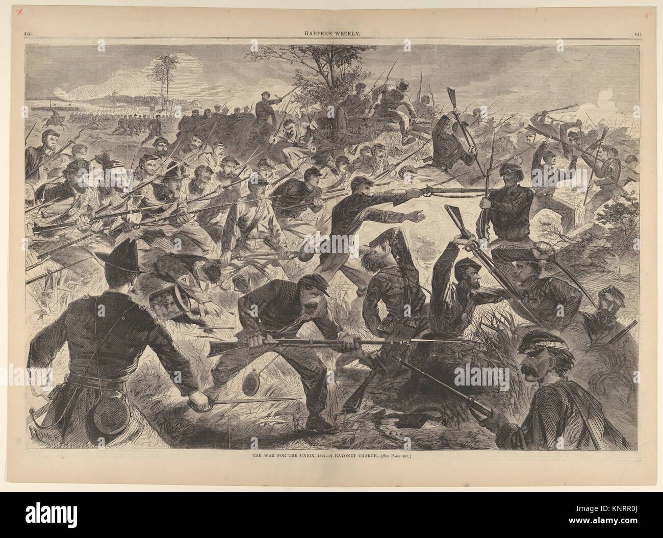 The War for the Union, 1862 - A Bayonet Charge (Harper's Weekly, Vol. VII). Artist: Winslow Homer (American, - Stock Image