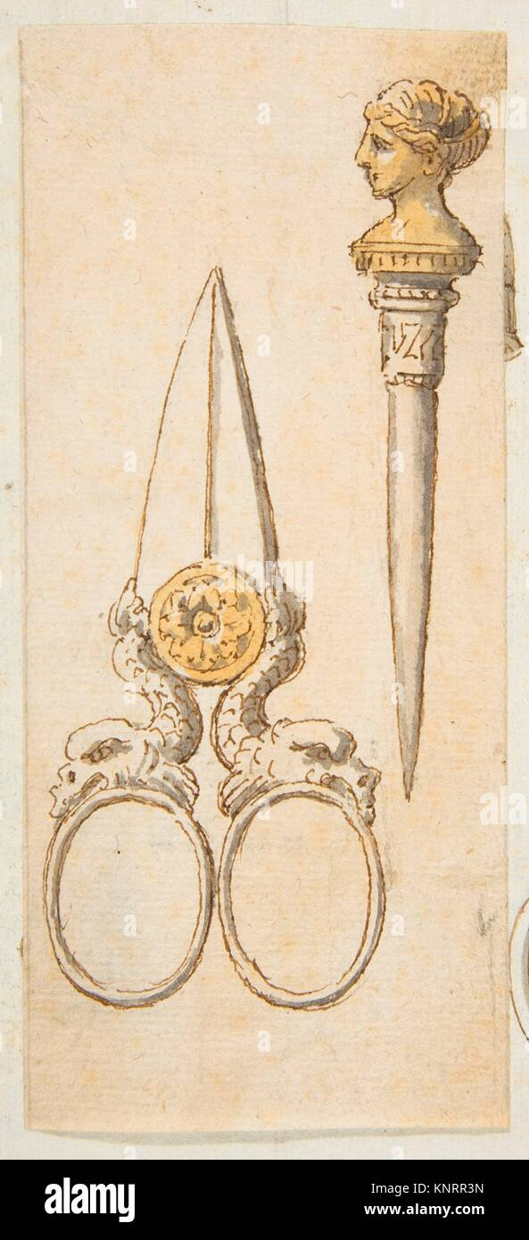 Designs for Scissors and Letter Opener. Artist: Anonymous, French, 19th century; Date: 19th century; Medium: Pen - Stock Image
