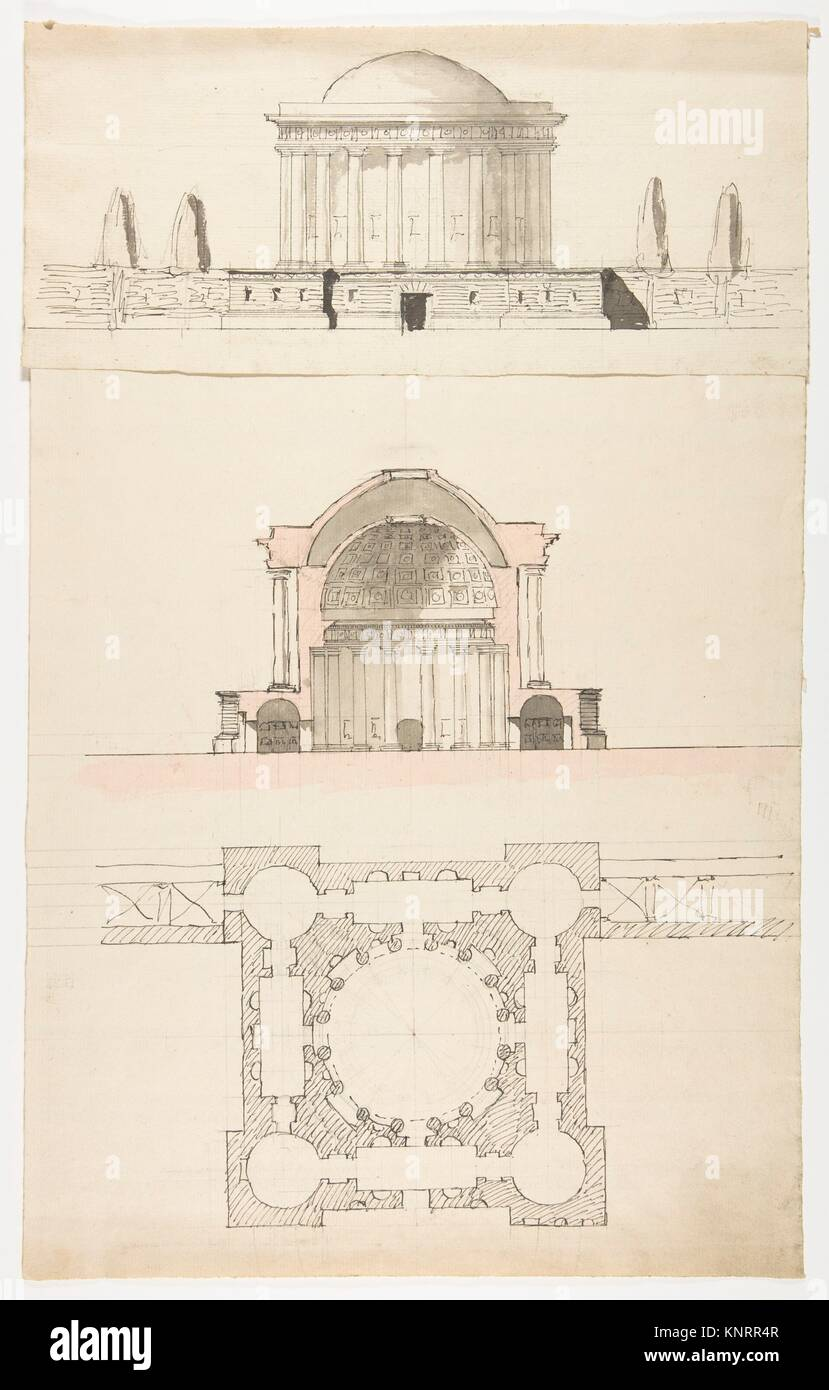 Architectural Drawing Artist Attributed To Nicolas Francois Barbier French 1768 1826