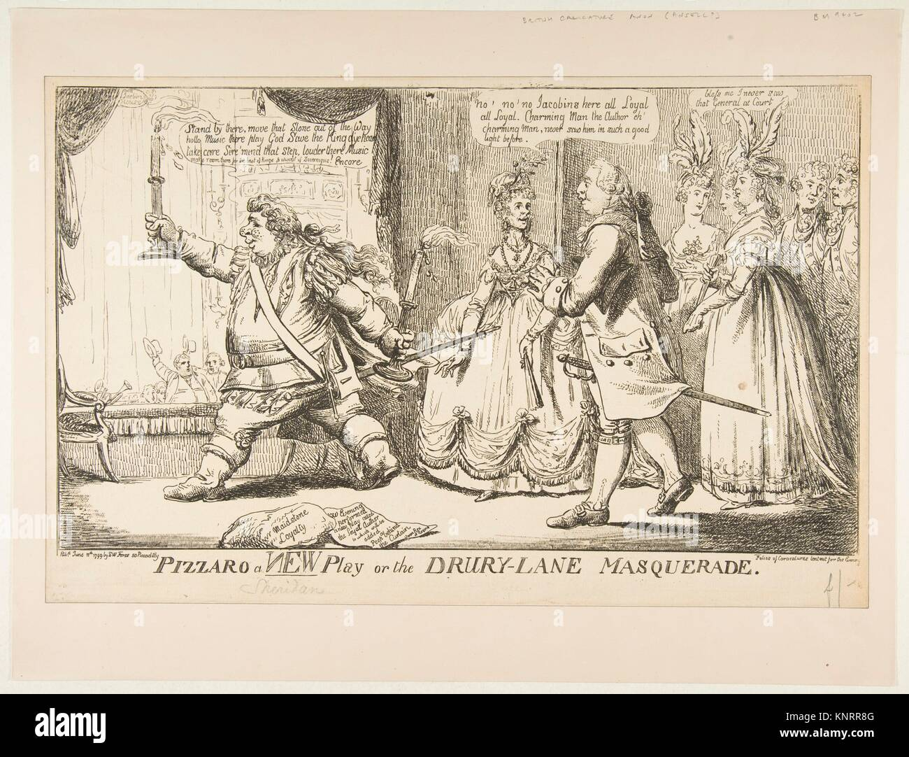 Pizzaro a New Play or the Drury-Lane Masquerade. Artist: Anonymous, British, 18th century; Publisher: Samuel William - Stock Image
