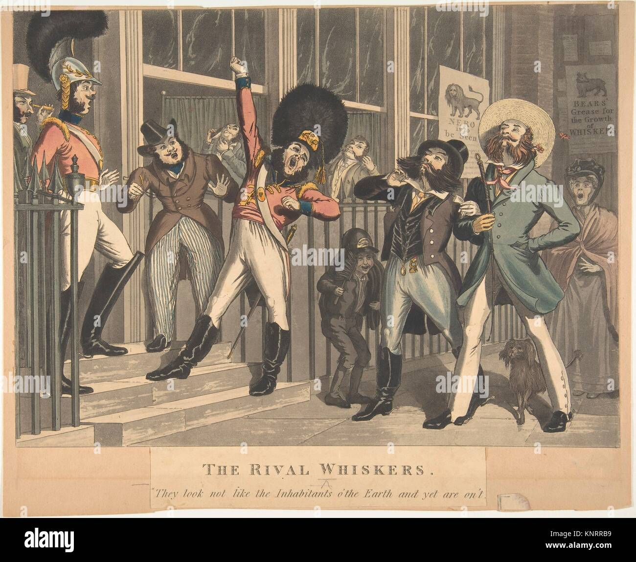 The Rival Whiskers. Artist: Designed and etched by Theodore Lane (British, Isleworth ca. 1800-1828 London); Artist: - Stock Image