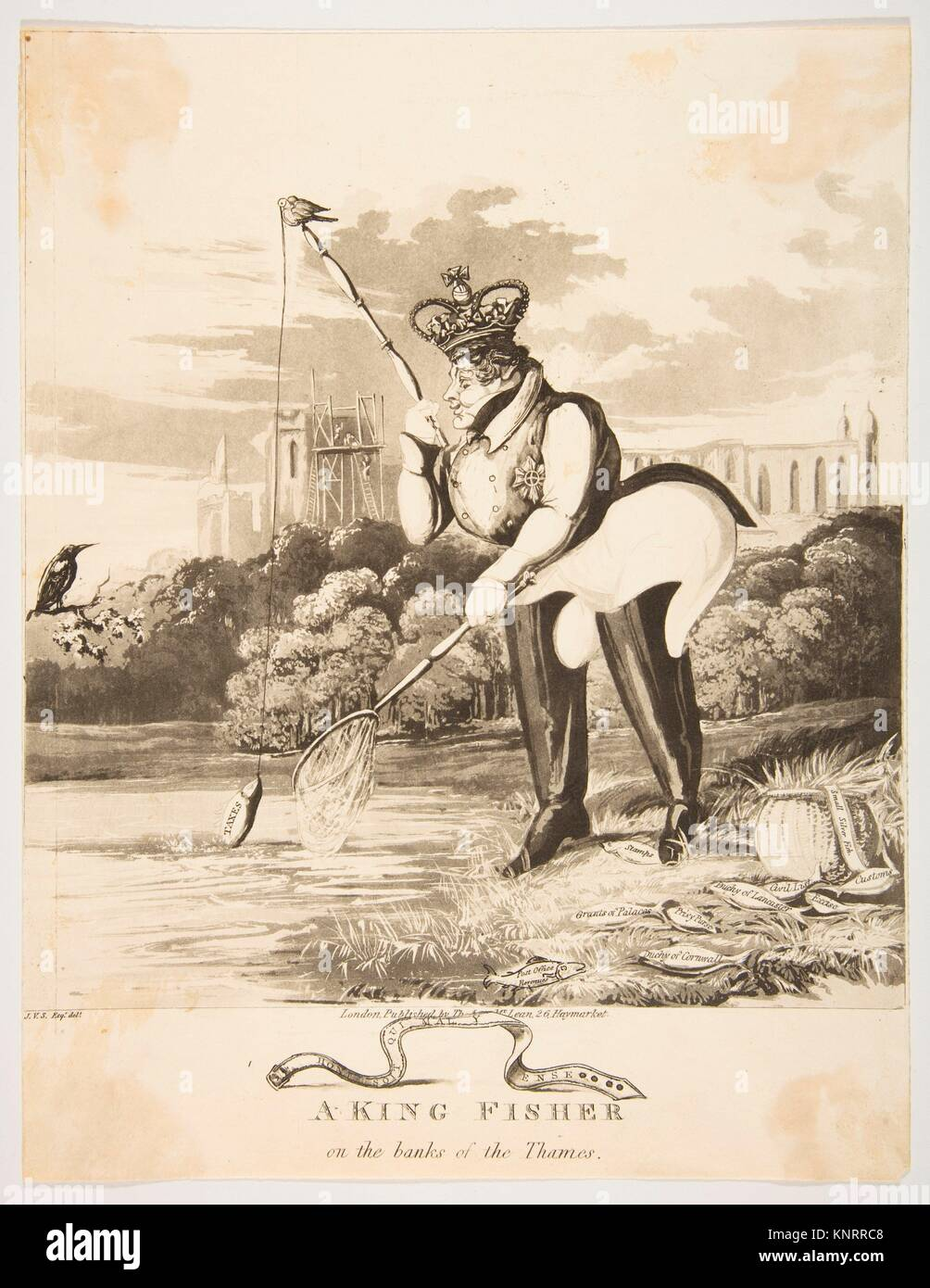 A King Fisher on the Banks of the Thames. Artist: Monogrammist JVS (British, active 1827); Publisher: Thomas McLean - Stock Image