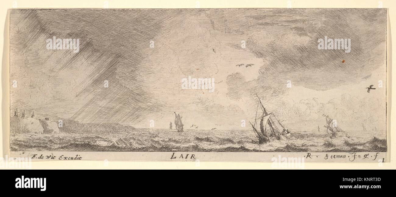 L'Air, from The Elements. Artist: Reinier Nooms, called Zeeman (Dutch, Amsterdam ca. 1623-1664 Amsterdam); Publisher: - Stock Image