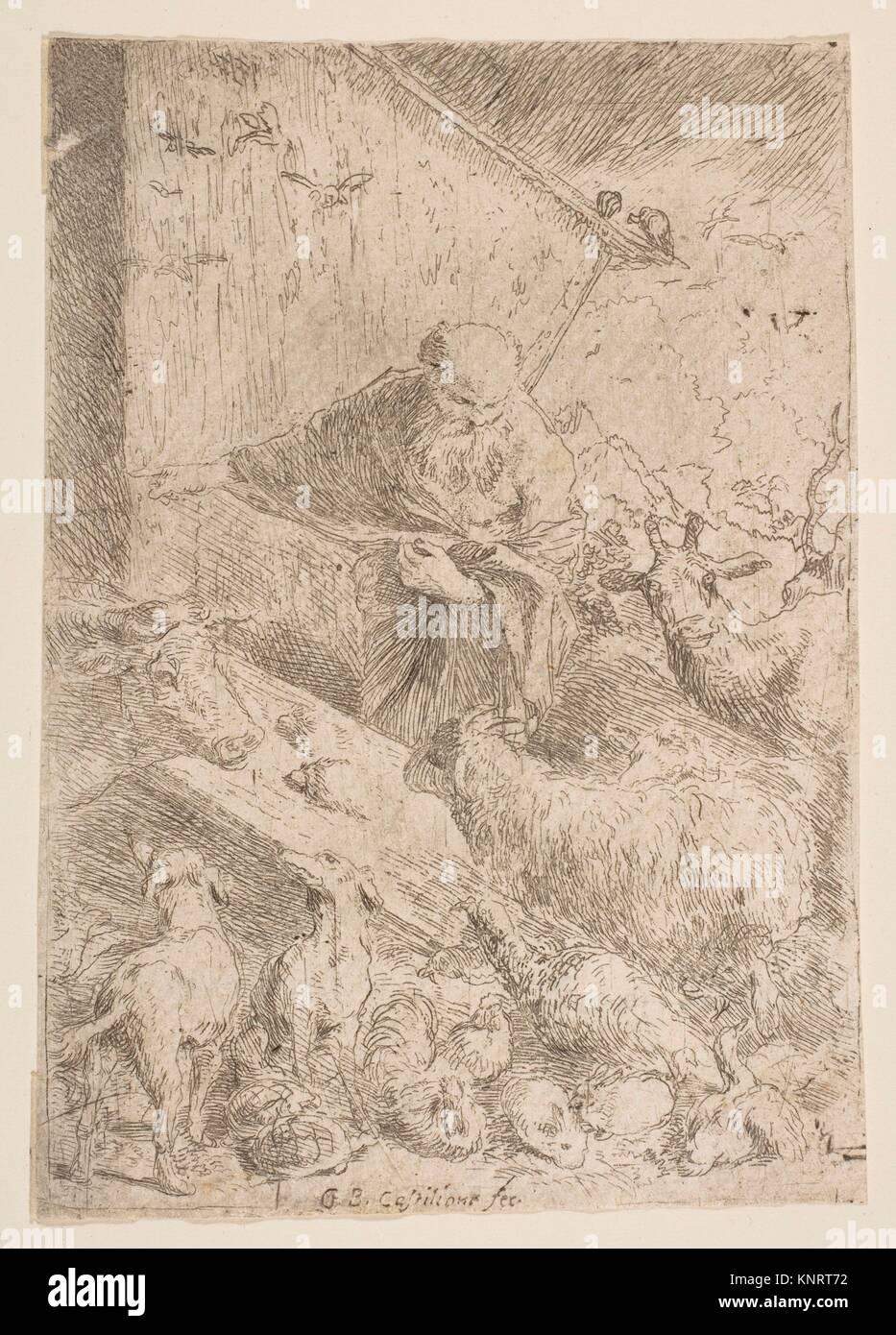 Noah letting the animals into the ark. Artist: Giovanni Benedetto Castiglione (Il Grechetto) (Italian, Genoa 1609 - Stock Image