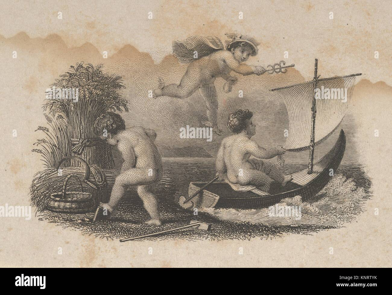 Banknote vignette with three putti symbolizing trade and agriculture. Artist: Attributed to Asher Brown Durand (American, - Stock Image