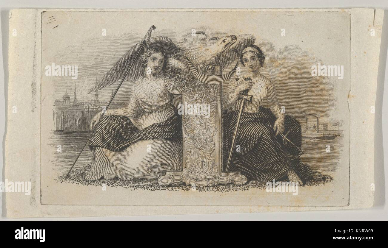 Banknote vignette with female figures representing Liberty and Justice. Artist: Attributed to Asher Brown Durand - Stock Image