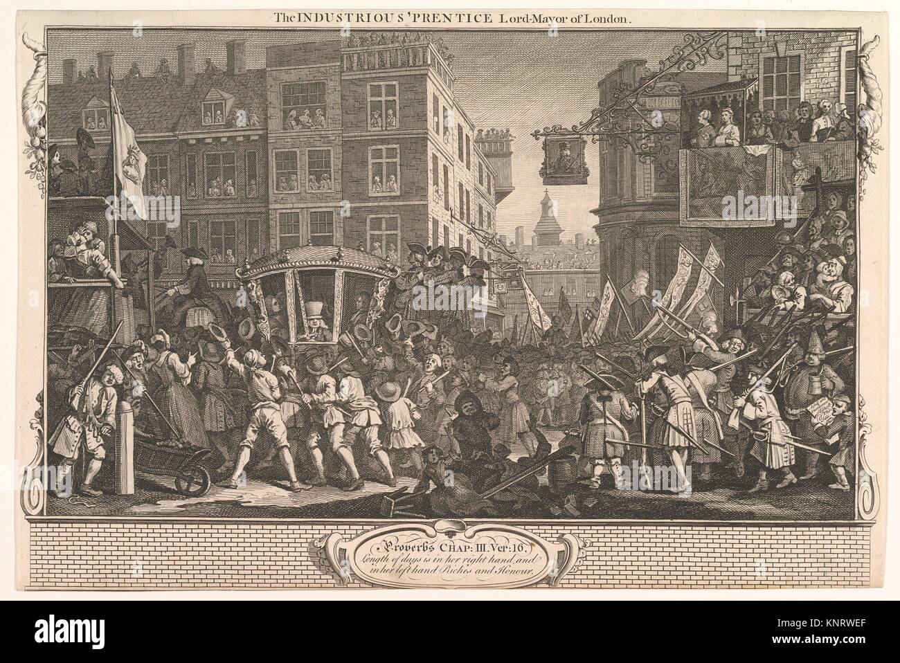 The Industrious 'Prentice Lord Mayor of London (Industry and Idleness, plate12). Artist: William Hogarth (British, - Stock Image