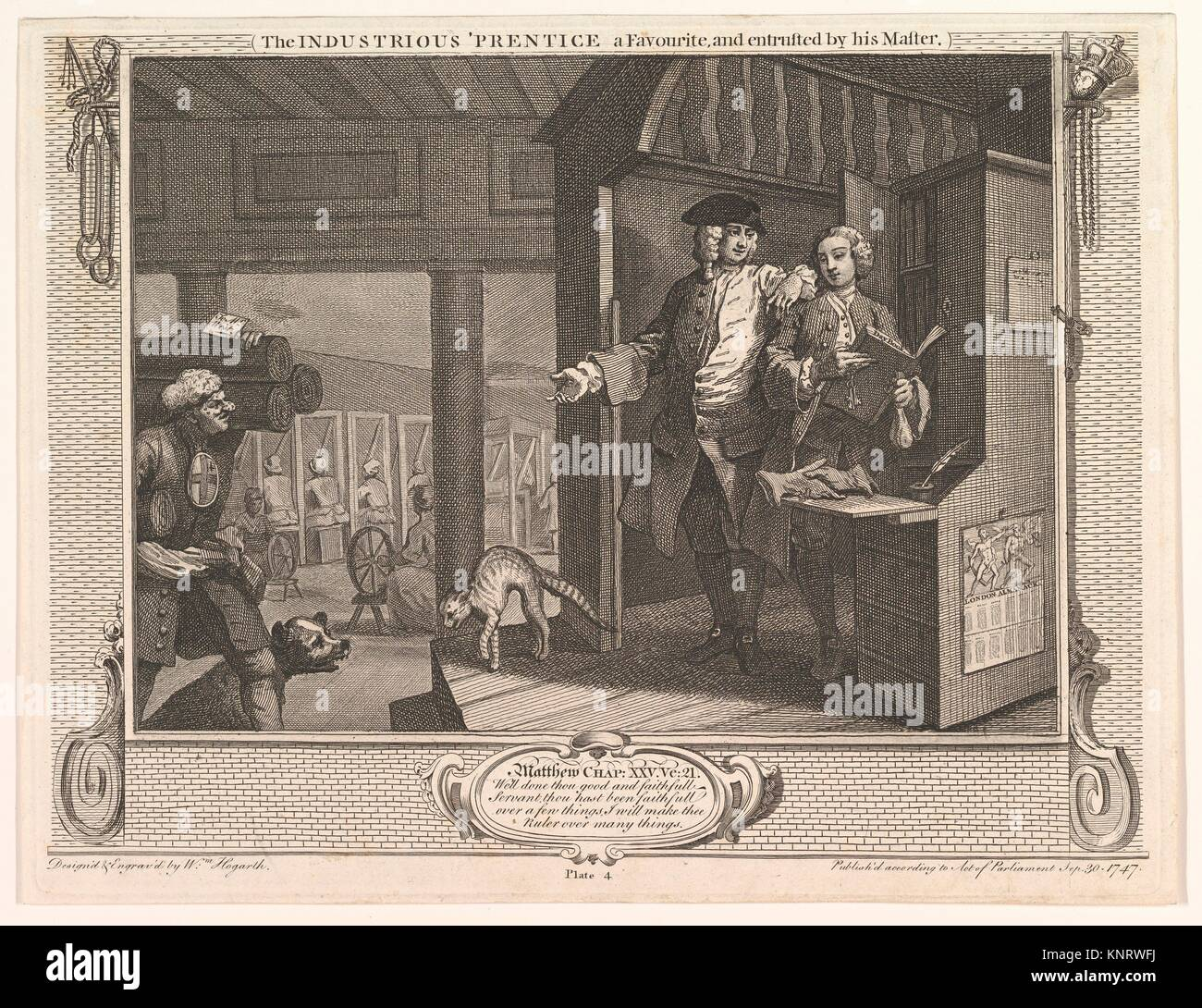 The Industrious 'Prentice a Favorite and Entrusted by his Master (Industry and Idleness, plate 4). Artist: William - Stock Image
