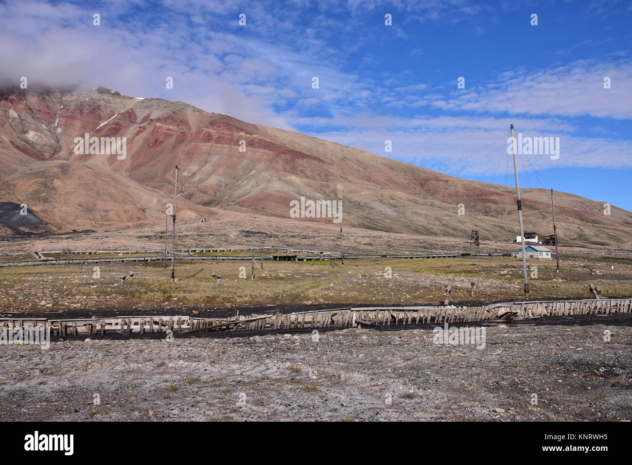 Antenna array enabling radio communications for KGB, Secret etc., Pyramiden, Svalbard / Spitzbergen. Abandoned Russian - Stock Image