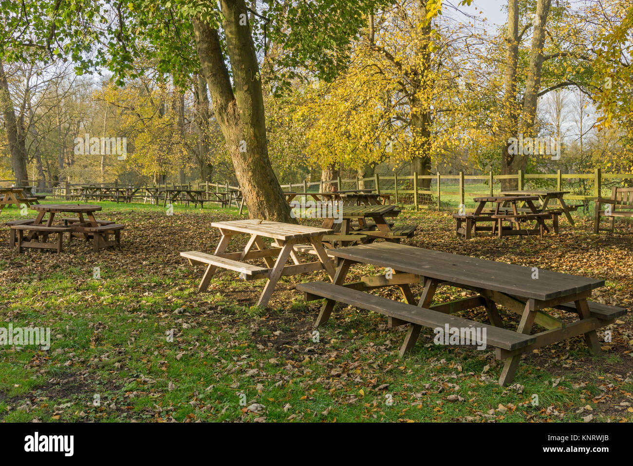 An outdoor eating area in Winter; attached to Towcester Mill Brewery and Tap Room, Towcester UK - Stock Image