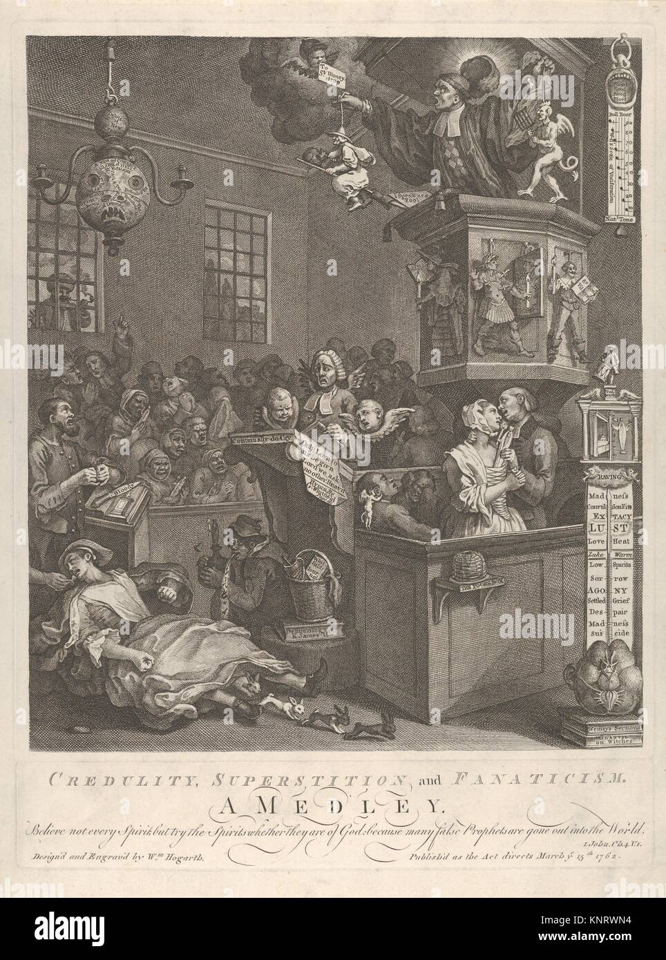 Credulity, Superstition, and Fanaticism. Artist: William Hogarth (British, London 1697-1764 London); Date: March - Stock Image
