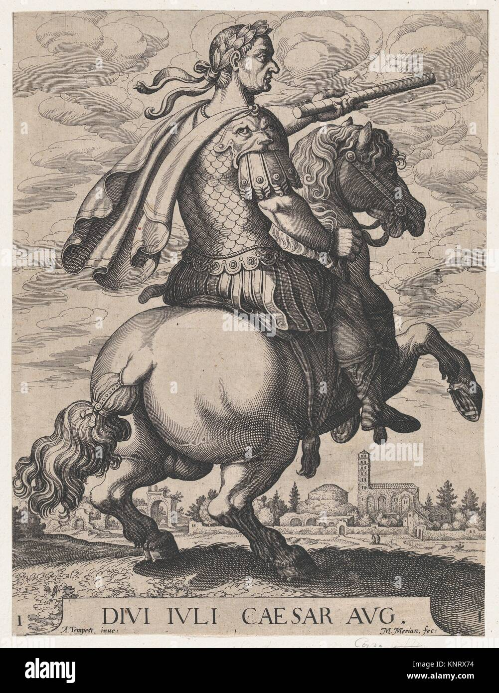 Plate 1: Emperor Julius Caesar on Horseback, from ´ The First Twelve Roman Caesars´, after Tempesta. Artist: Matthäus Merian the Elder (Swiss, Basel Stock Photo