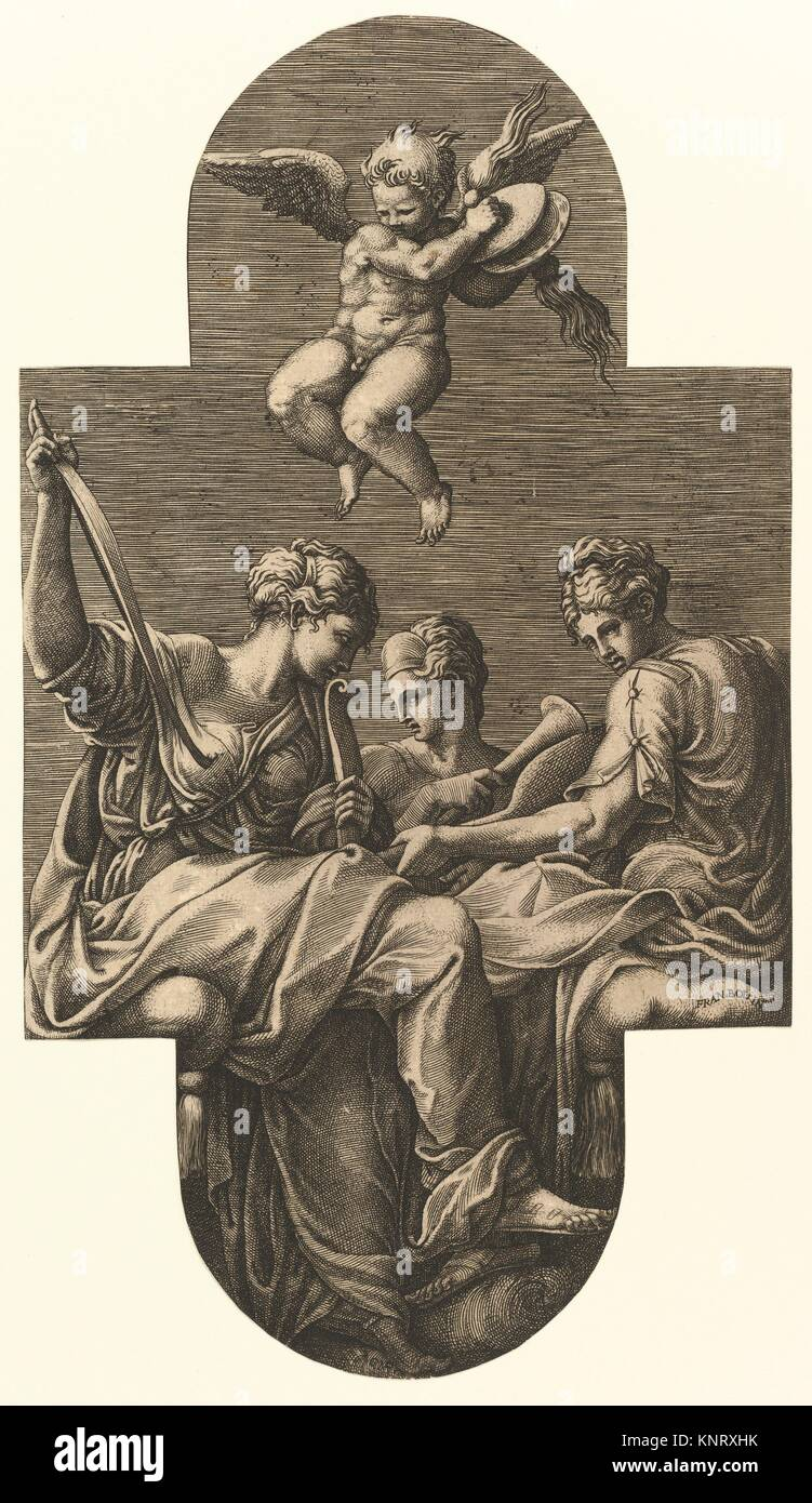 Three Muses and a Putto with Cymbals, from a series of eight compositions after Francesco Primaticcio's designs - Stock Image