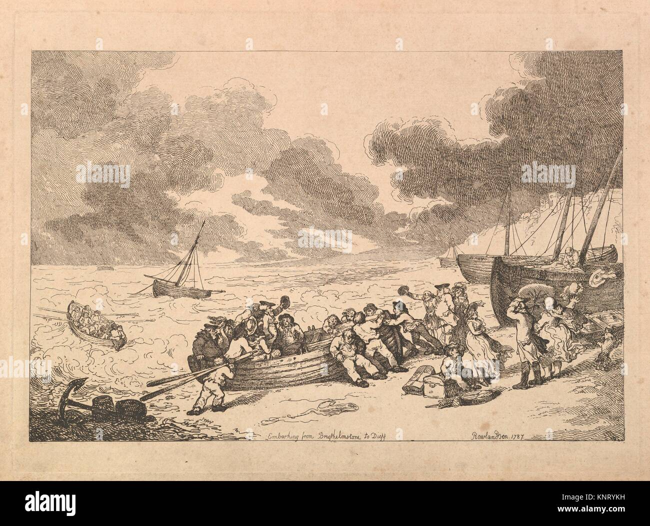 Embarking from Brighthelmstone to Dieppe. Series/Portfolio: Imitations of Modern Drawings; Artist: Thomas Rowlandson - Stock Image