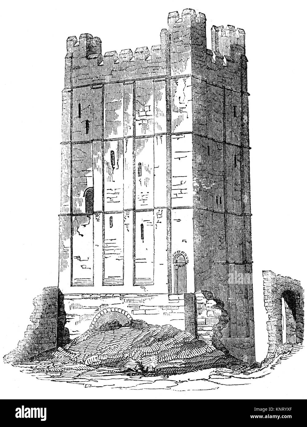 The keep of Richmond Castle, completed in 1086, in the market town of Richmond founded in 1071 by the Breton Alan - Stock Image