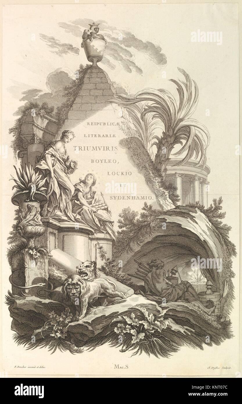 Frontispice pour le Tombeau de Boyle, Locke, et Sydenham (Frontispiece for the Tomb of Boyle, Locke, and Sydenham), - Stock Image