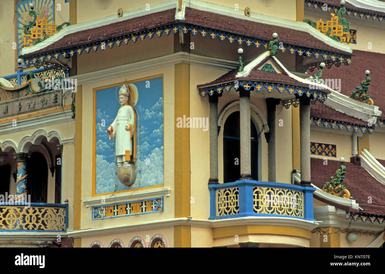 Vietnam, Tay Ninh, Cao Dai Ninh Holy See of Caodaism Temple, Picture near Entrance, Cao Dasim Religion Combibes - Stock Image