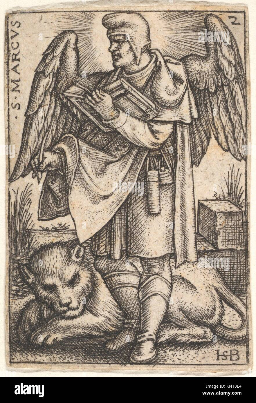 Plate 2: Saint Mark, his head turned in profile to the left, with an open book in his right hand and a lion at his - Stock Image