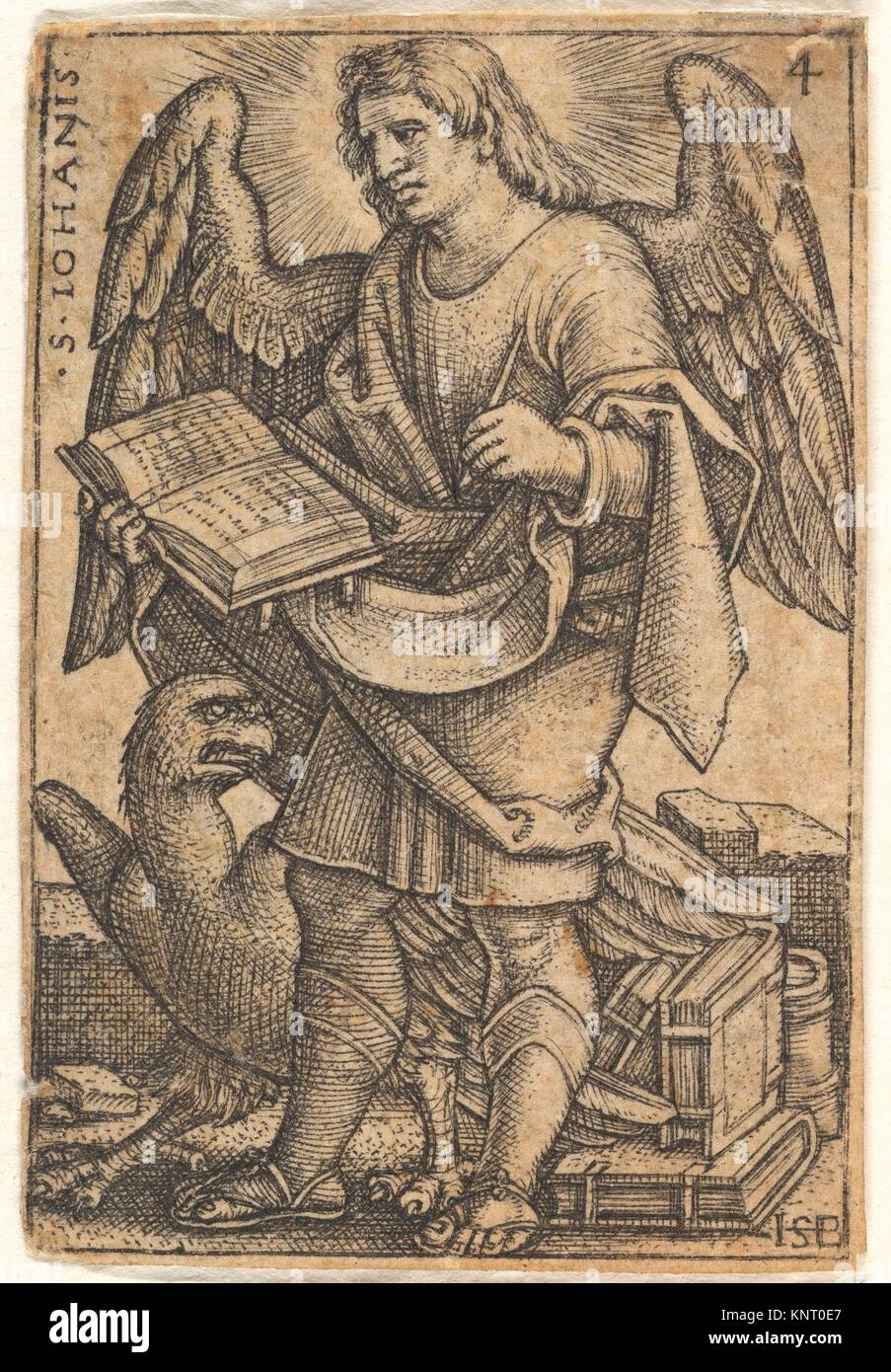 Plate 4: Saint John with his head turned three-quarters to the left, with a book in his right hand and an eagle - Stock Image