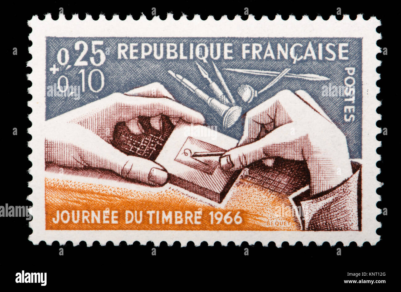 French postage stamp (1966)  : Journee du Timbre / Day of the Stamp 1966 - engraver at work - Stock Image