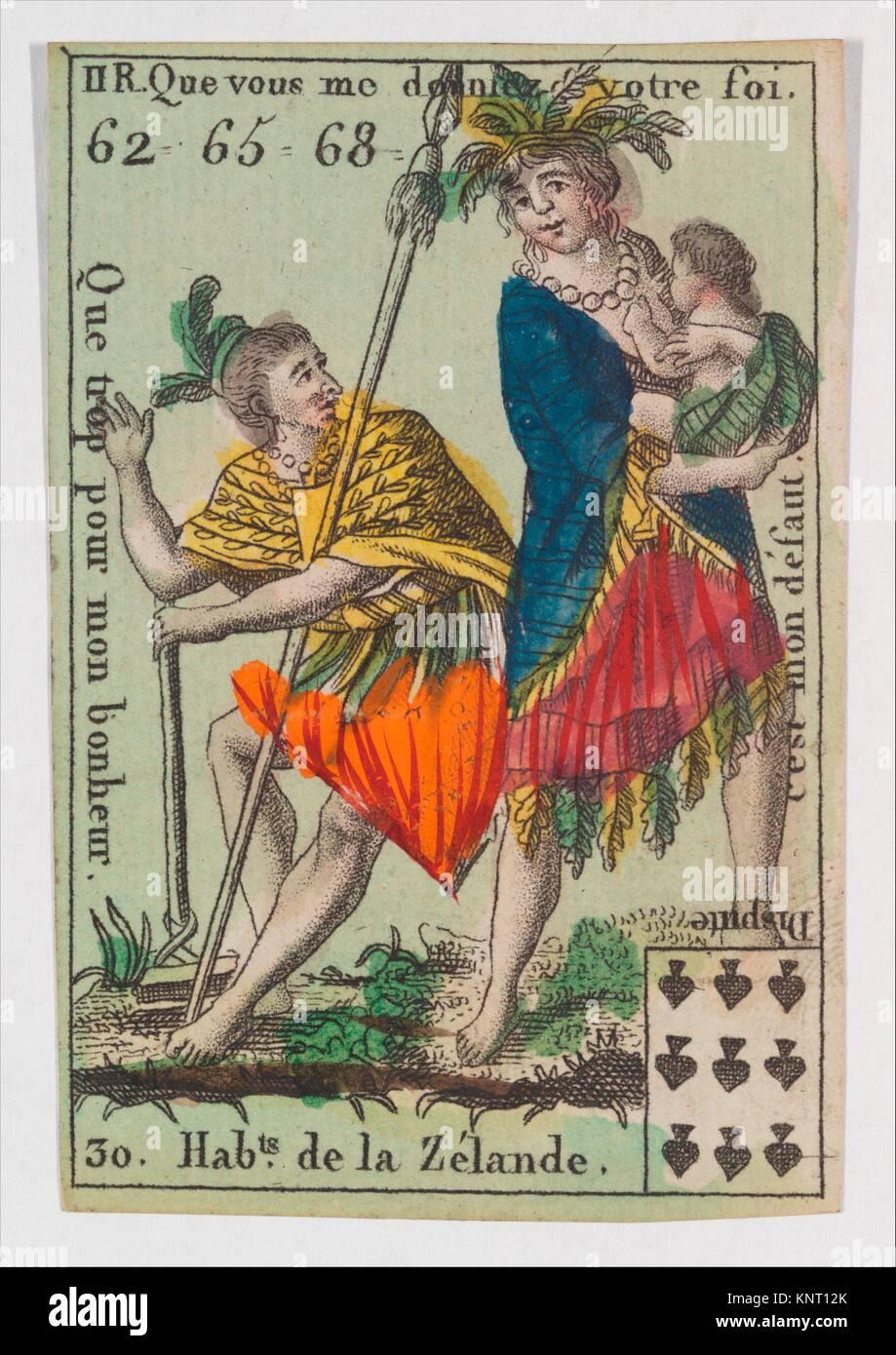 Hab.ts de la Zelande from Playing Cards (for Quartets) ´Costumes des Peuples Étrangers´. Artist: - Stock Image
