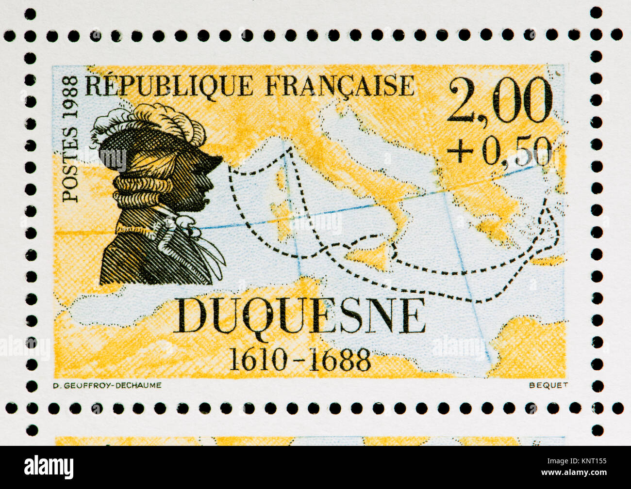 French postage stamp (1988): Abraham Duquesne, marquis du Bouchet (1610 – 1688) French naval officer, with a map - Stock Image
