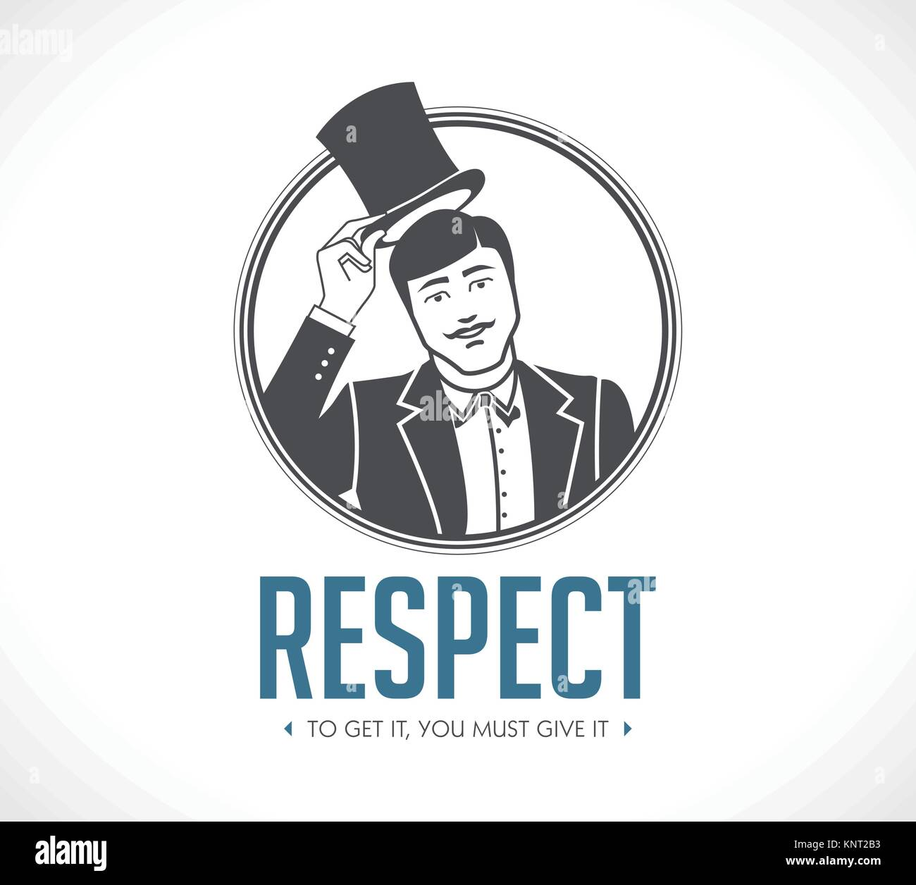 Respect logo - concept sign - man taking off his hat - icon – stock illustration - Stock Vector