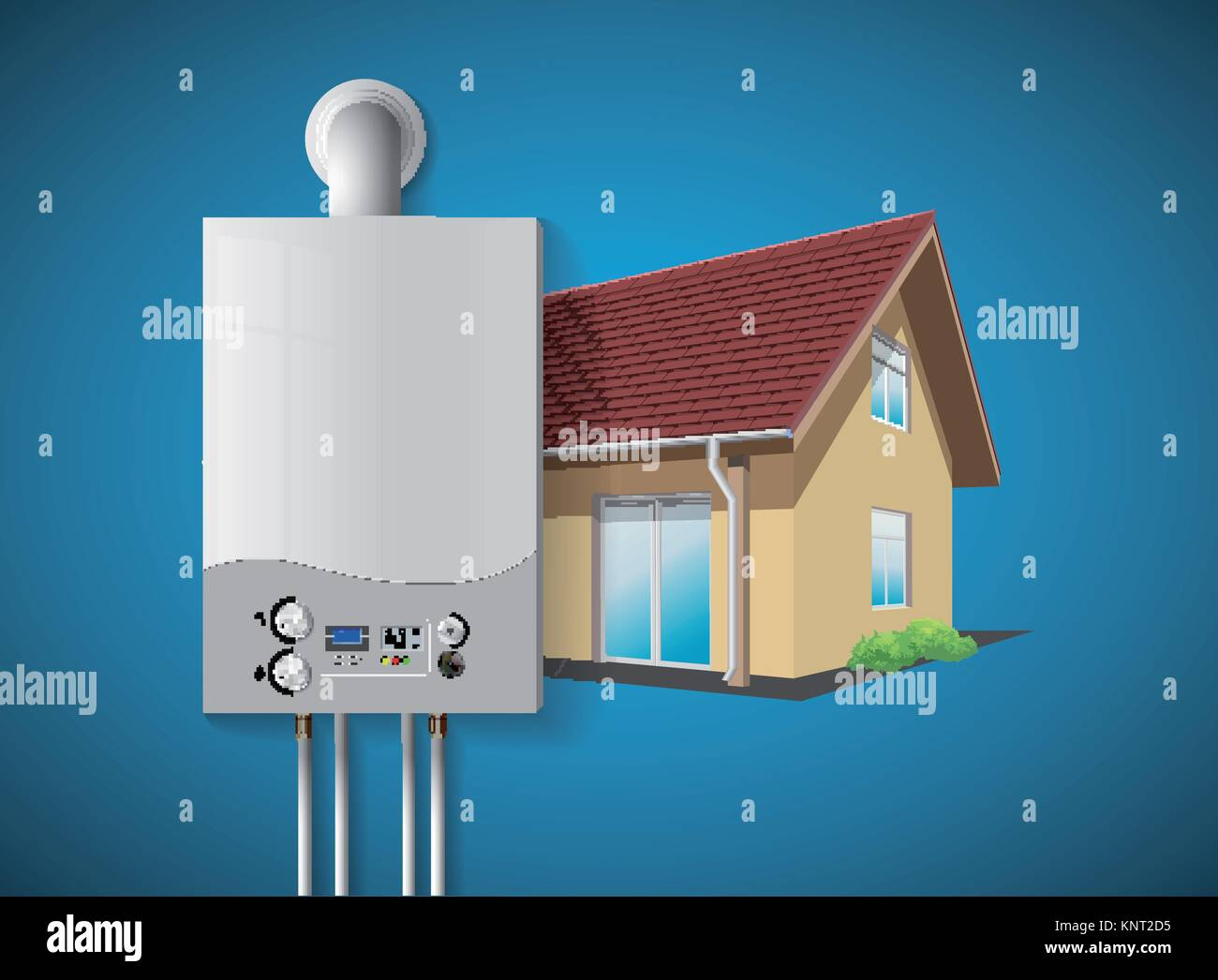 House heating concept - modern home gas fired boiler - energy and cash savings – stock illustration - Stock Image