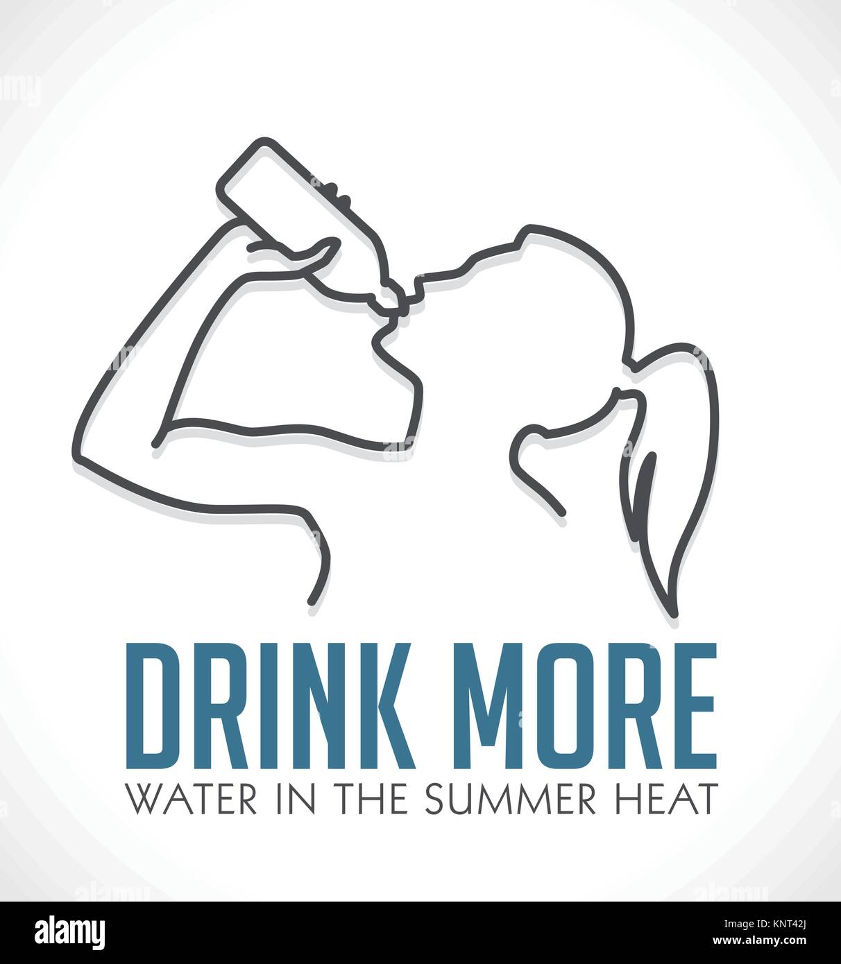 Logo - Drink more water in summer heat – stock illustration - Stock Vector
