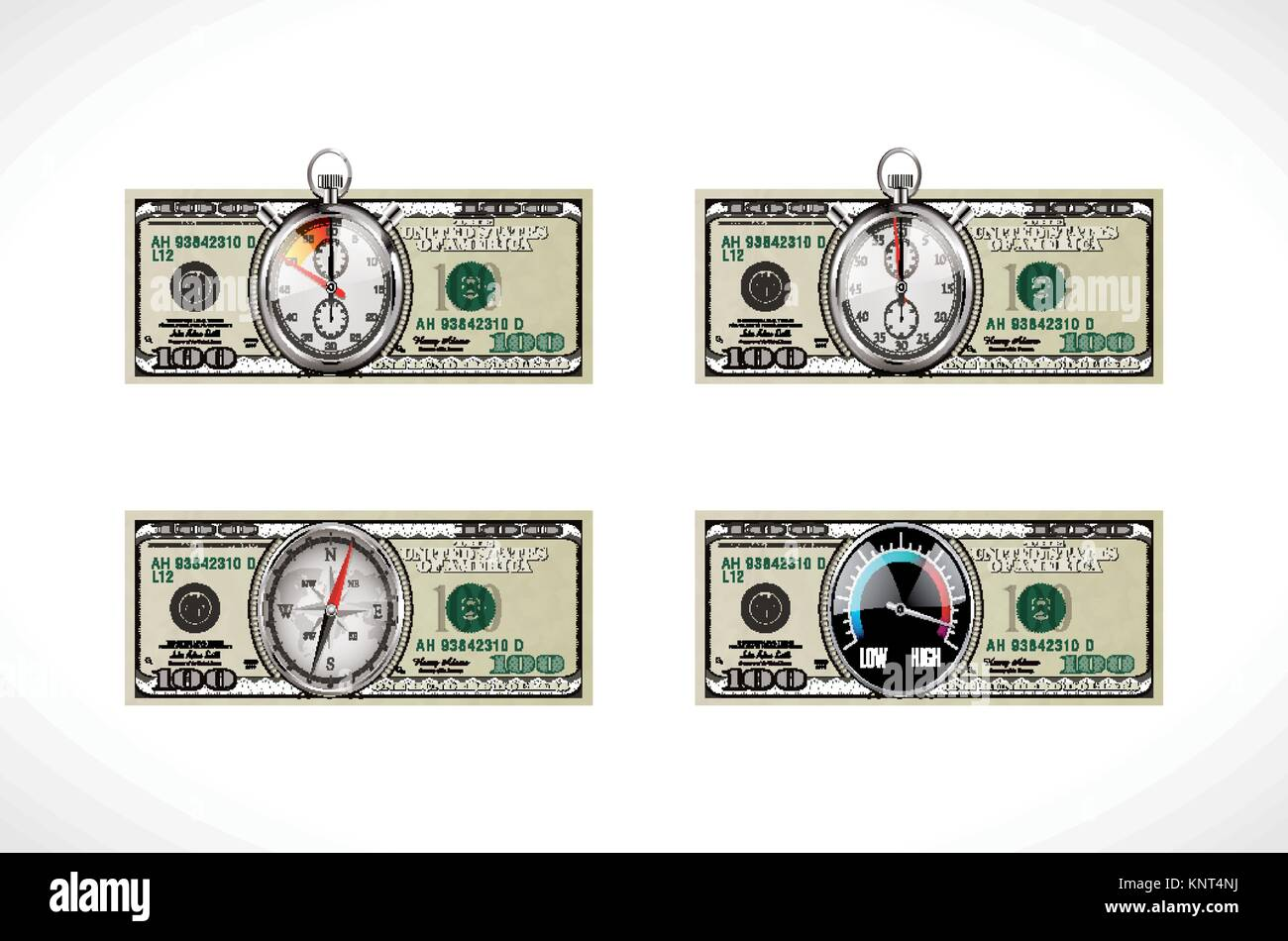 One hundred dollars - United States currency - time for business - Stock Vector
