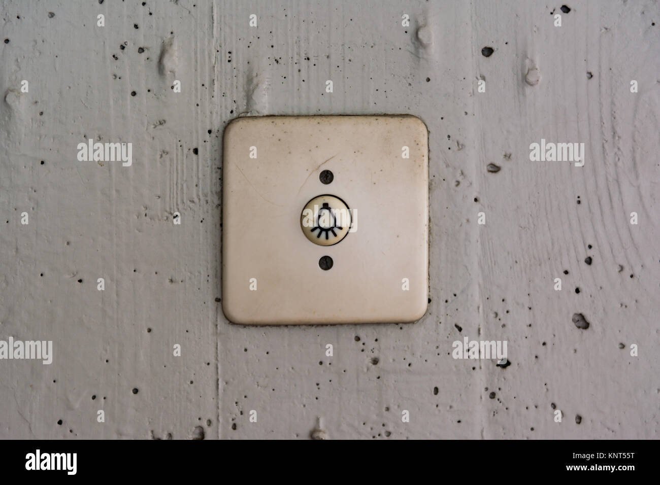 Old Dirty Outdoor Light Switch Residential Cover Plastic Stock Photo