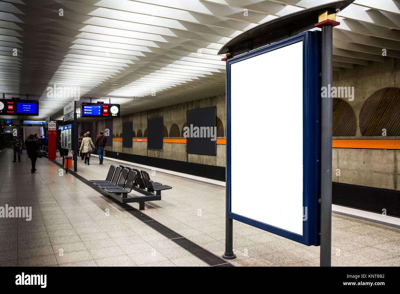 Blank Advertisement Template Subway Underground Bench Munich City Urban Public Transport Germany Europe Light Indoors Rectangular Large Stock Photo