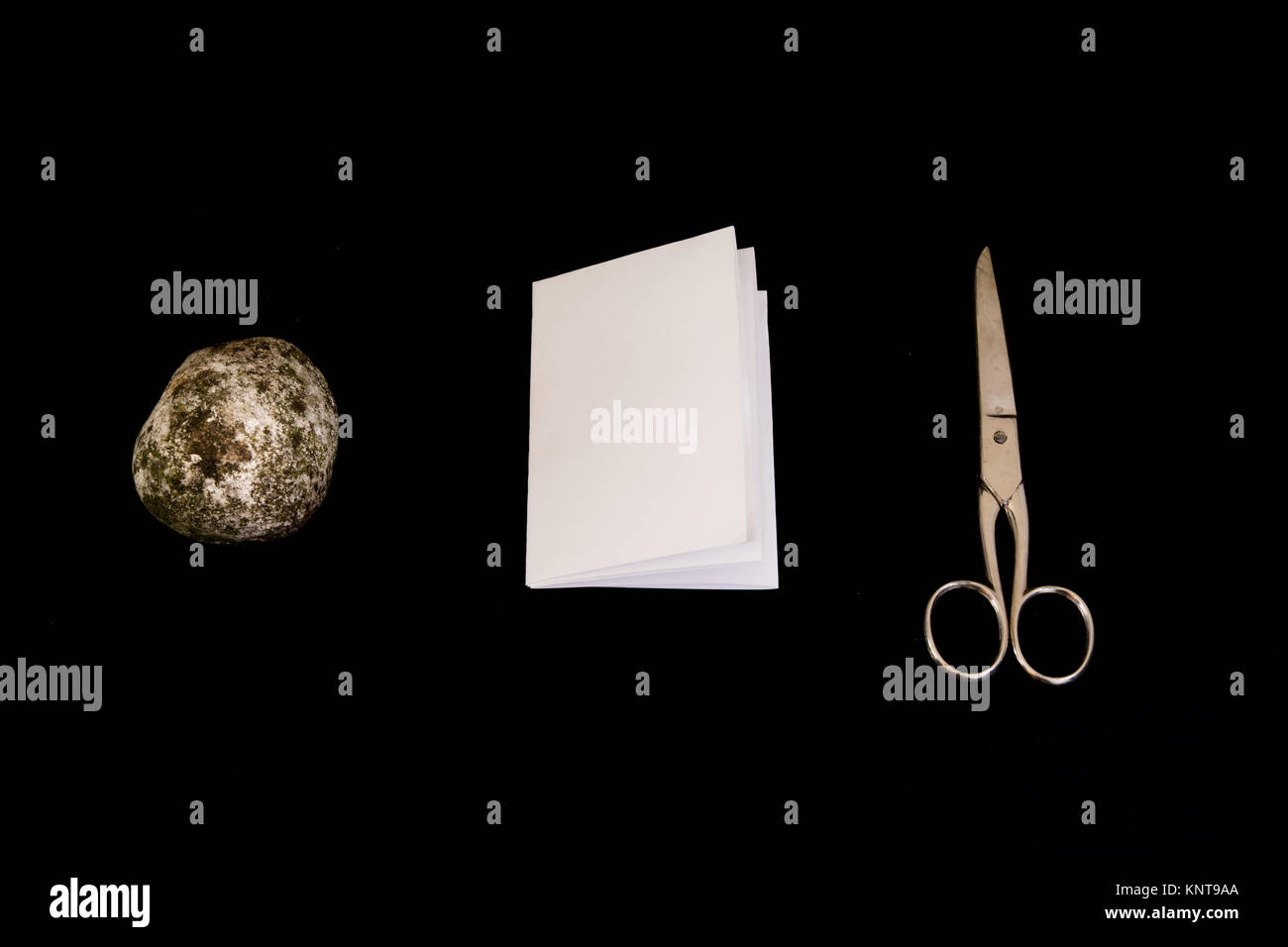 Rock Paper Scissors Game Black Isolated Background Decision Objects - Stock Image