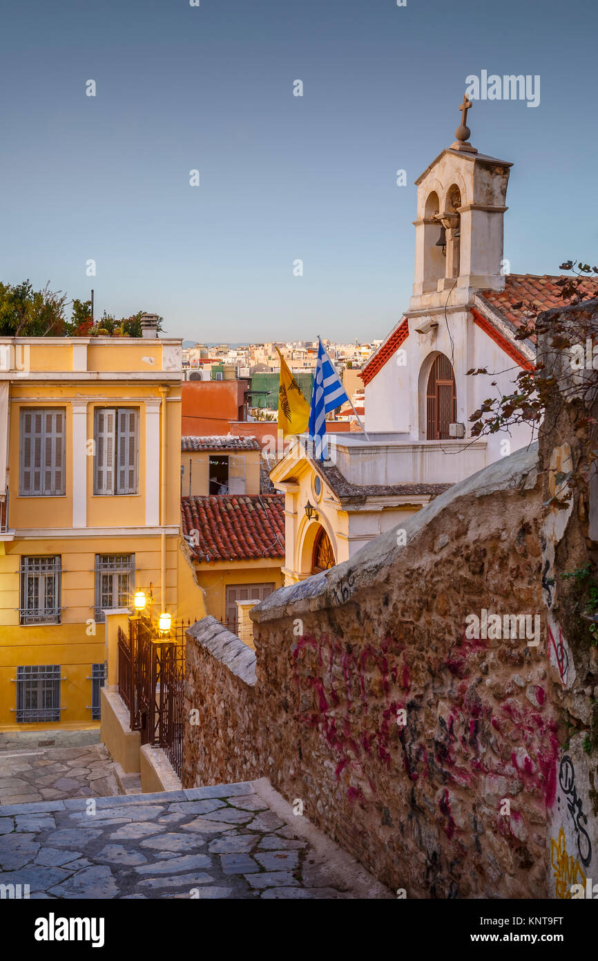 Church in Plaka, the old town of Athens, Greece. - Stock Image
