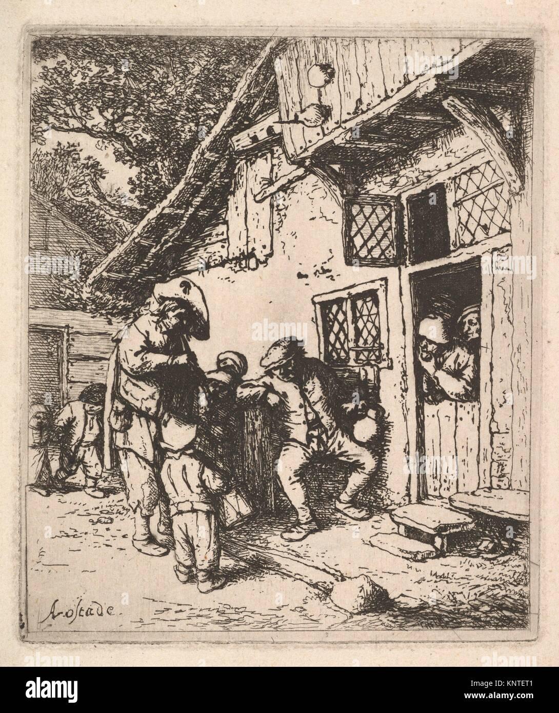 Traveling Musicians. Artist: Adriaen van Ostade (Dutch, Haarlem 1610-1685 Haarlem); Date: 1610-85; Medium: Etching; Stock Photo