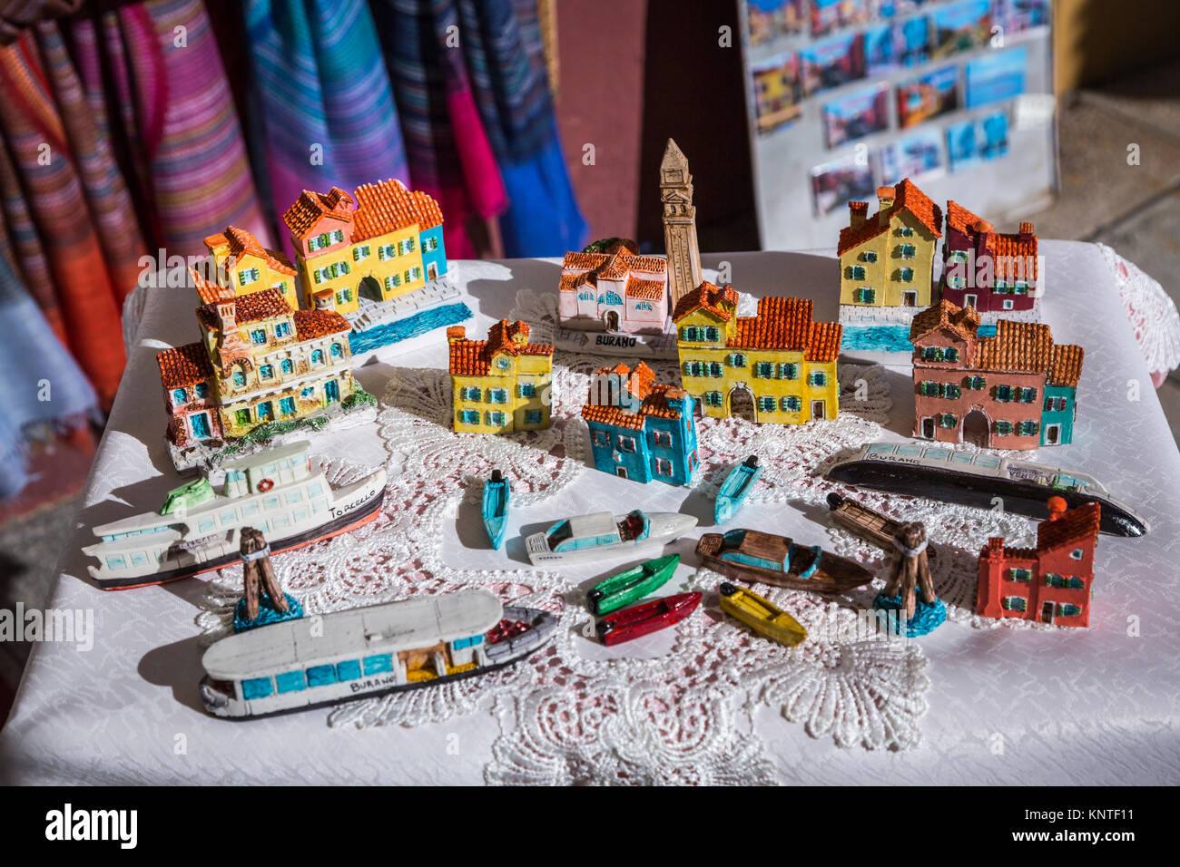 Products for sale in the Venetian village of Burano, Venice, Italy, Europe. - Stock Image