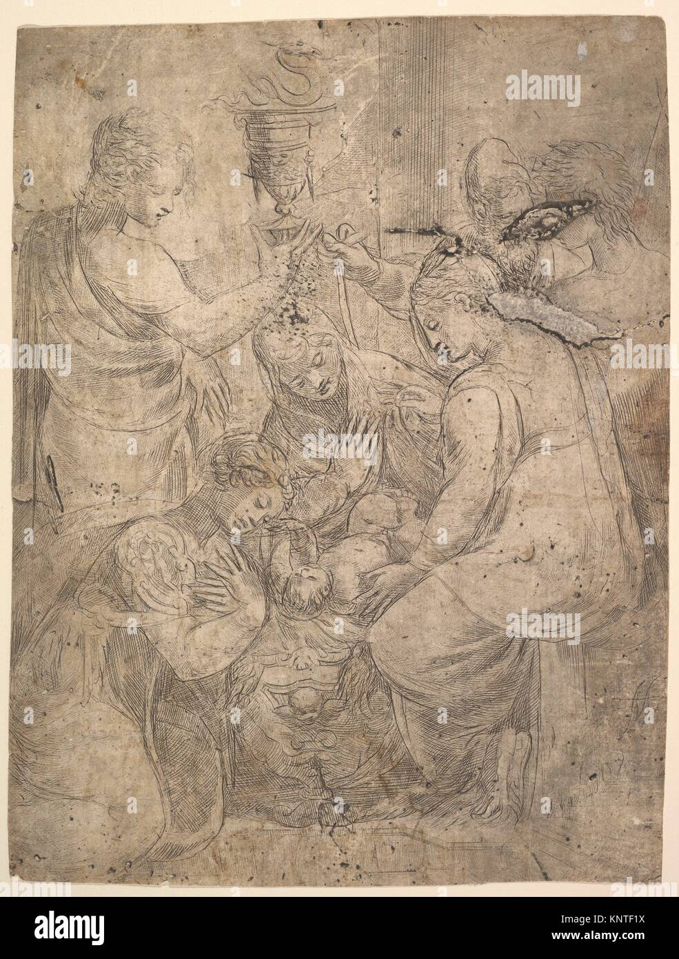 The Christ Child in the Cradle surrounded by adoring figures. Artist: Andrea Schiavone (Andrea Meldola) (Italian, - Stock Image