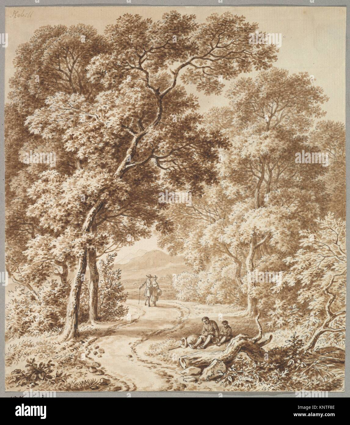 A Path Bordered by Trees with two Beggars and a Couple Strolling. Artist: Ferdinand Kobell (German, Mannheim 1740 - Stock Image