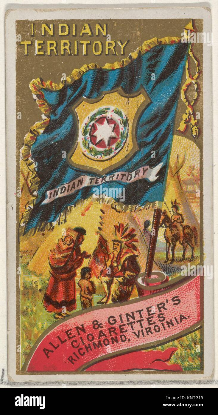 Indian Territory, from Flags of the States and Territories (N11) for Allen & Ginter Cigarettes Brands. Publisher: Stock Photo