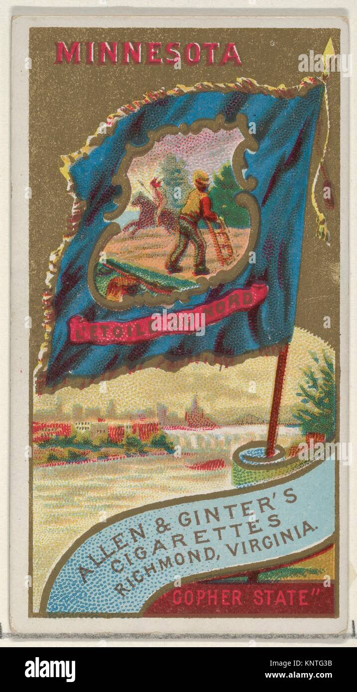 Minnesota, from Flags of the States and Territories (N11) for Allen & Ginter Cigarettes Brands. Publisher: Issued - Stock Image