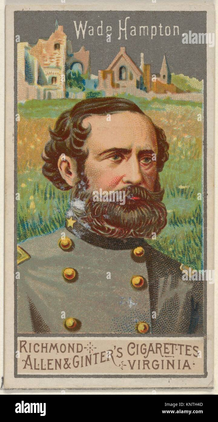 Wade Hampton, from the Great Generals series (N15) for Allen & Ginter Cigarettes Brands. Publisher: Allen & - Stock Image