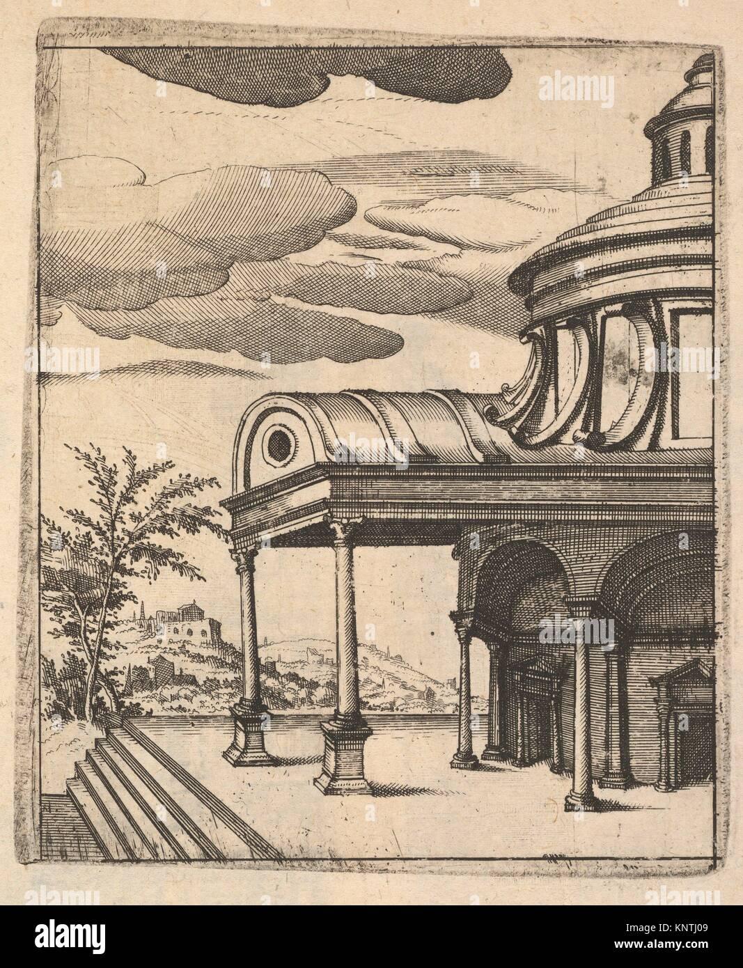 Partial view of a Building [Tem Ro Penatibus Dicatu] from the series 'Ruinarum variarum fabricarum delineationes - Stock Image