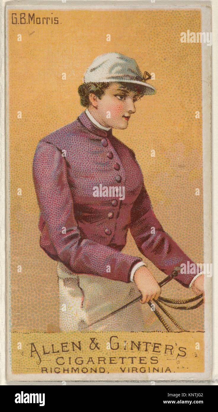 G.B. Morris, from the Racing Colors of the World series (N22a) for Allen & Ginter Cigarettes. Publisher: Allen - Stock Image
