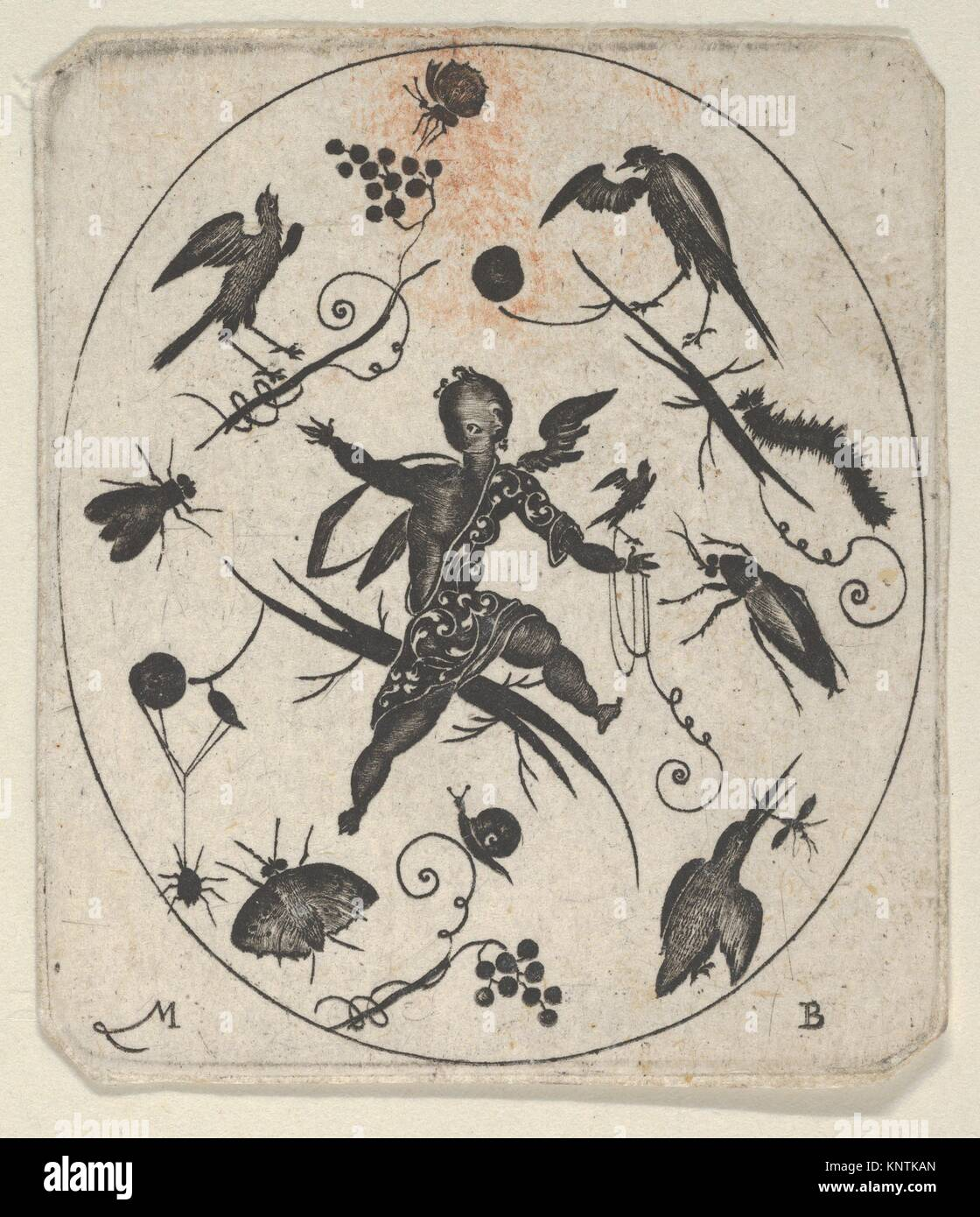 Blackwork Design for Goldsmithwork with a Putto, Birds and Insects. Artist: Mathais Beitler (German, Ansbach, active - Stock Image