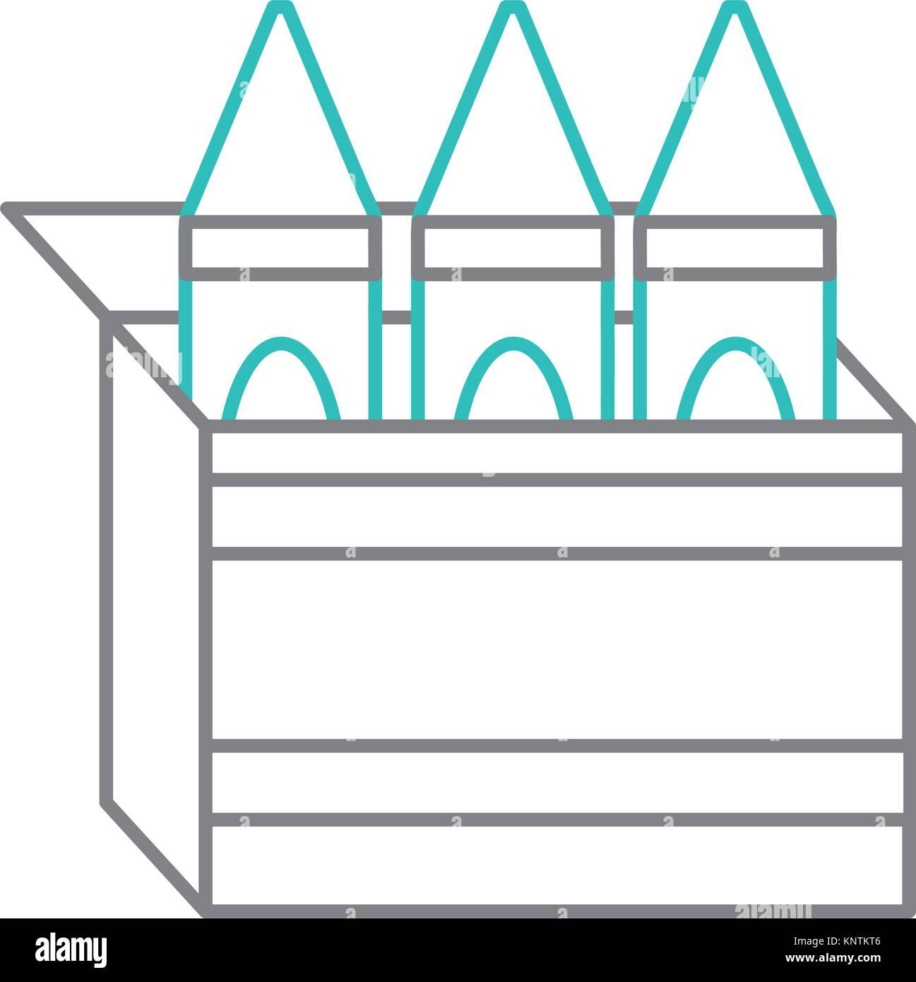 Isolated crayon box design Stock Vector