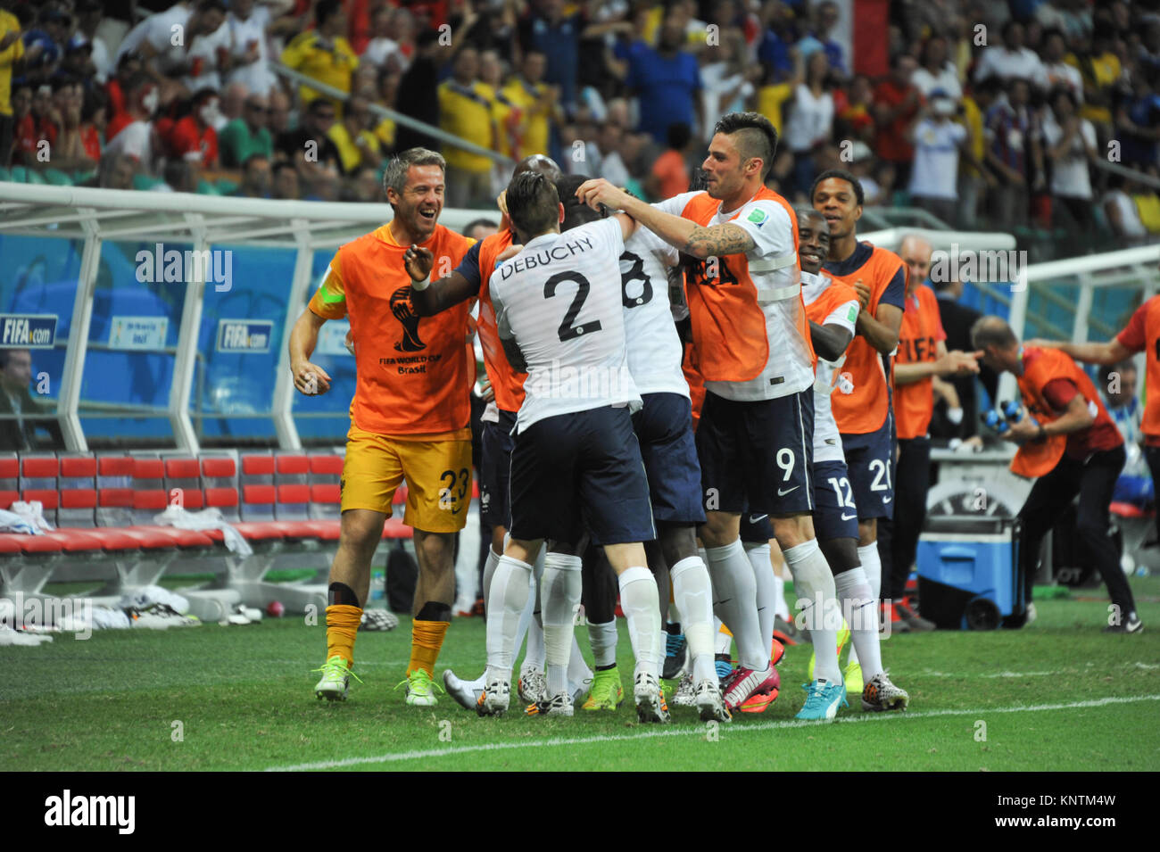 Fifa World Cup 2014, France vs. Switzerland, French Goal, Salvador da Bahia, Brazil - Stock Image