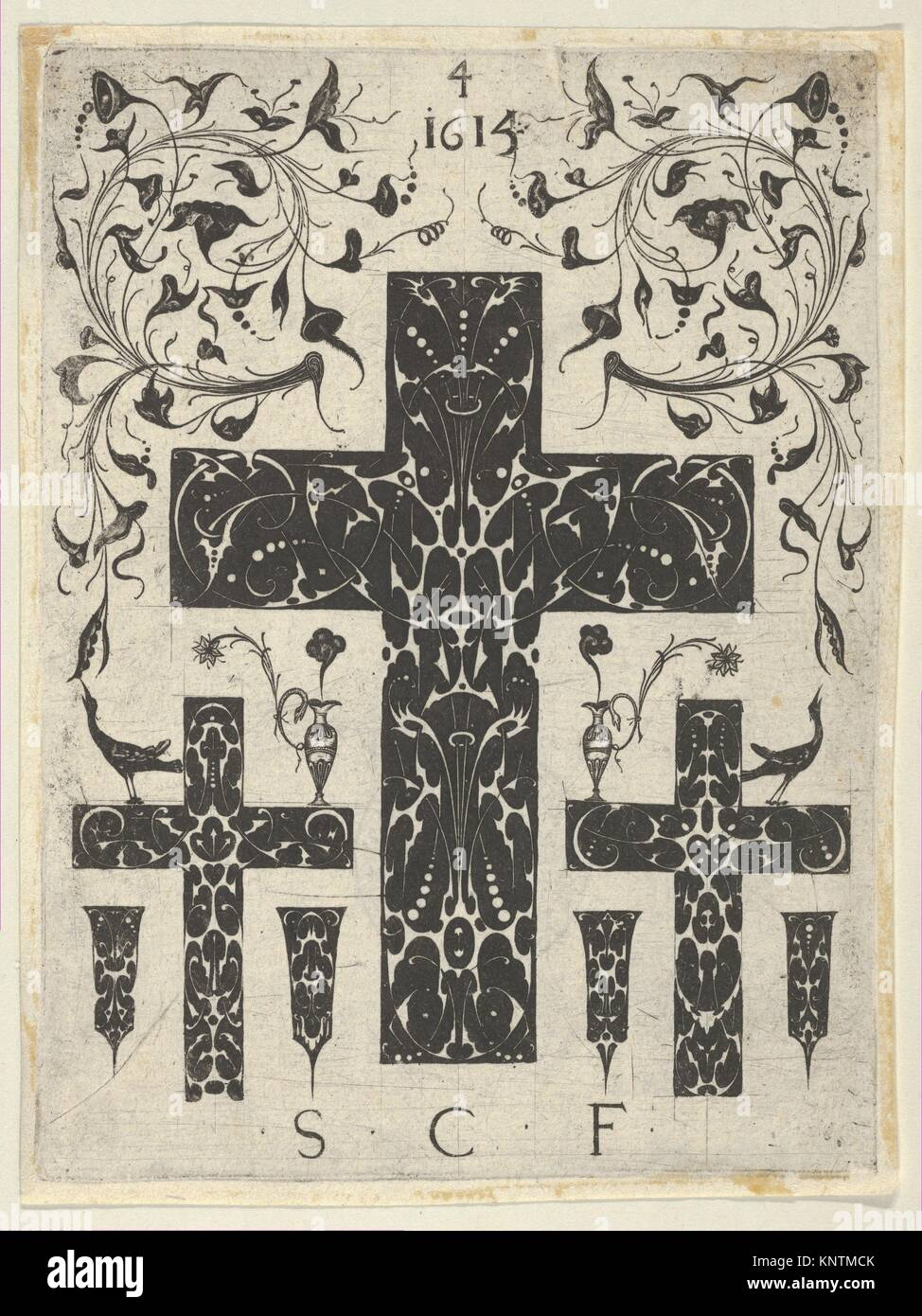 Blackwork Print with Three Crosses and Foliate Scrolls, from a Series of Blackwork Prints for Goldsmiths' Work. - Stock Image