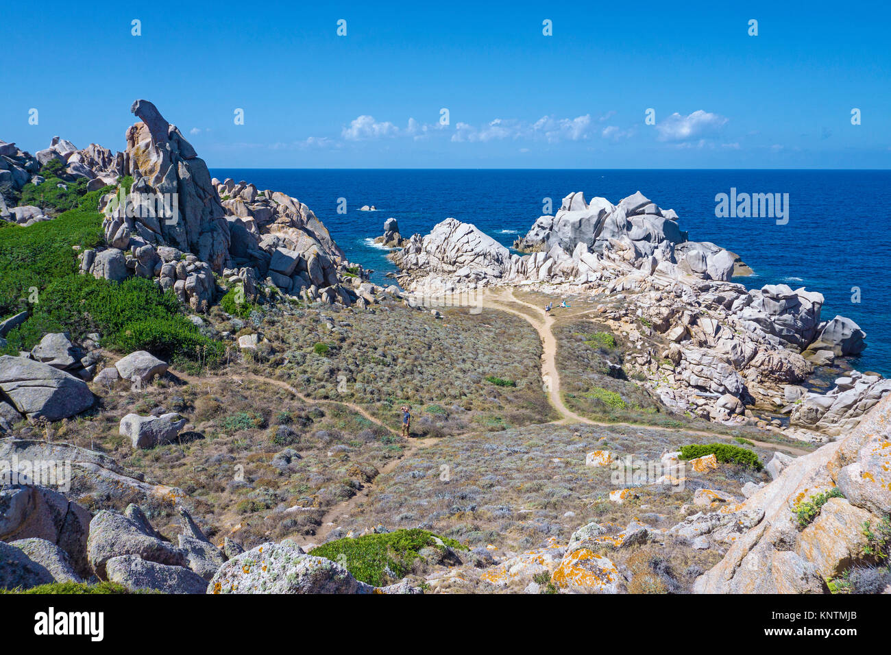 Coastal landscape, granite boulders at Capo Testa, Santa Teresa di Gallura, Sardinia, Italy, Mediterranean sea, - Stock Image