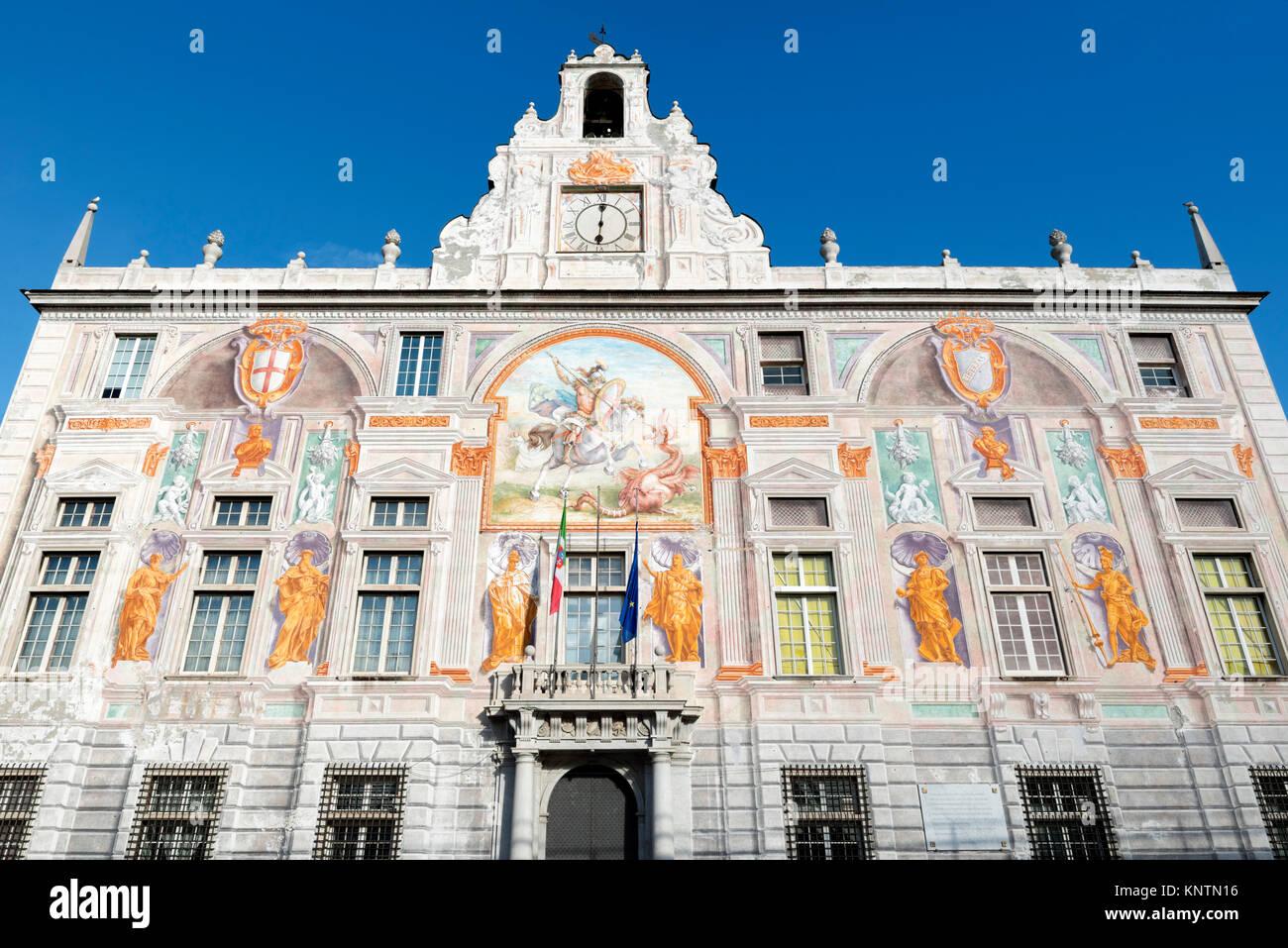 Facade of the Palazzo San Giorgio (Palace of St George) in the port area, Piazza Caricamento, Genoa, Liguria, Italy - Stock Image